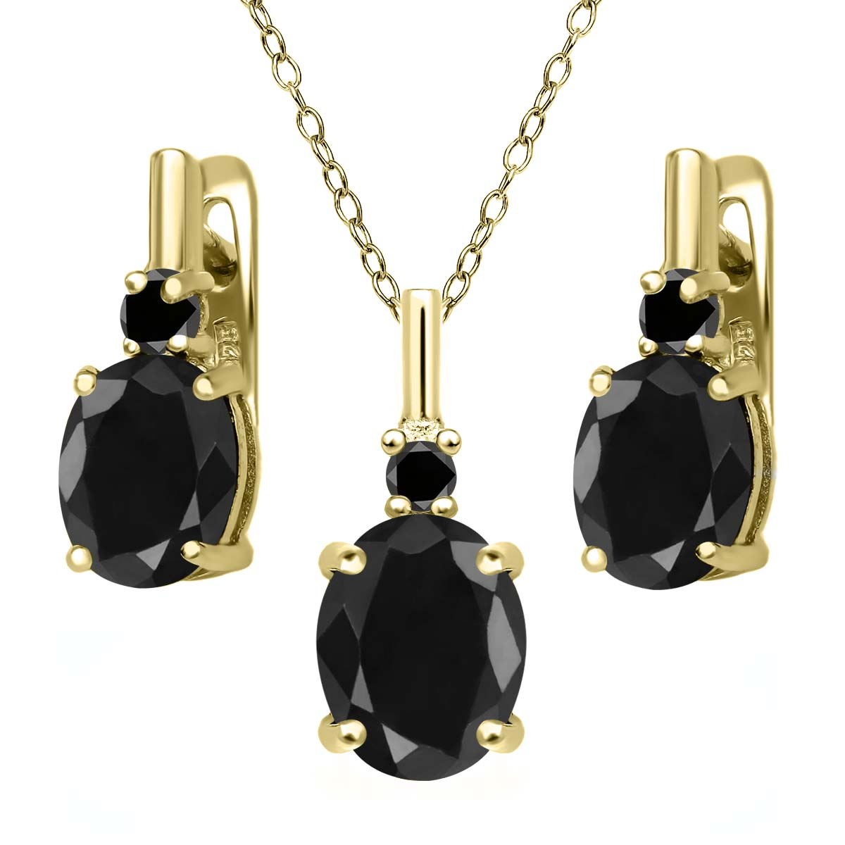 7.69 Ct Black Sapphire Black Diamond 18K Yellow Gold Plated Silver Pendant Earrings Set by