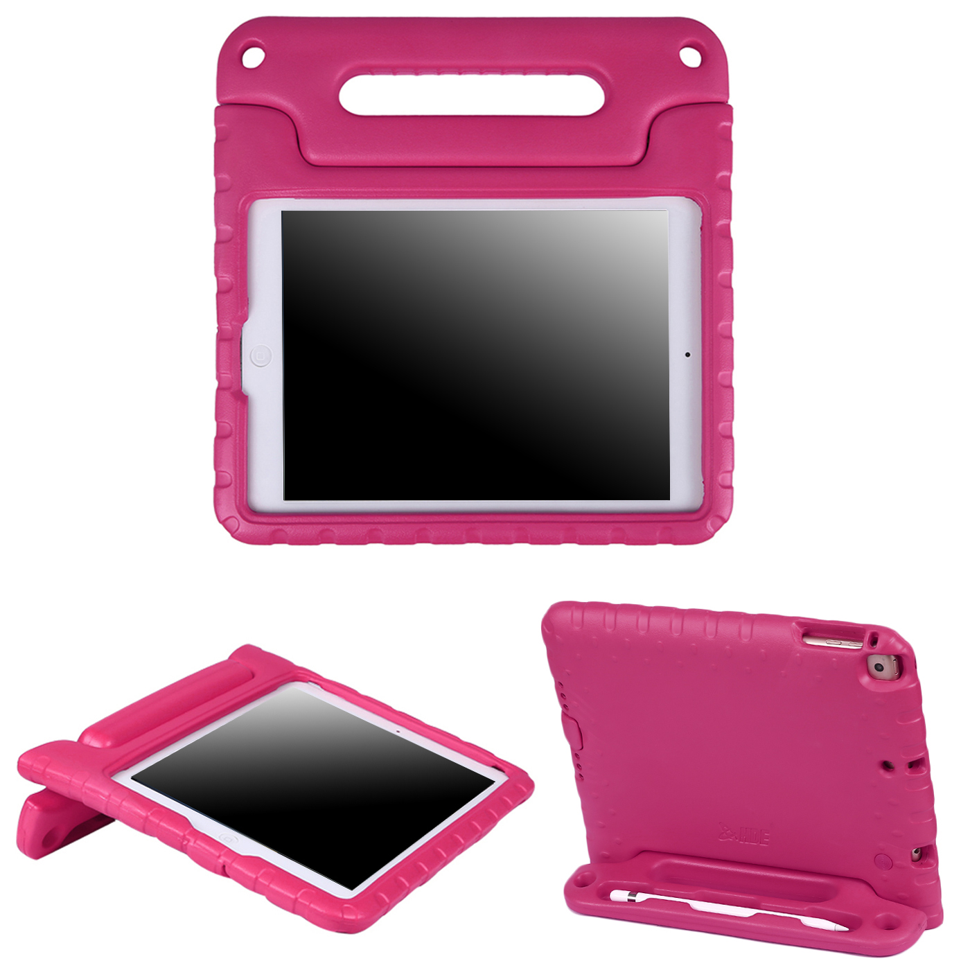 HDE iPad 9.7 Case for kids 2018 6th Generation Shockproof Bumper Protective Cover Stand for All New Apple iPad 9.7 Inch - Hot Pink
