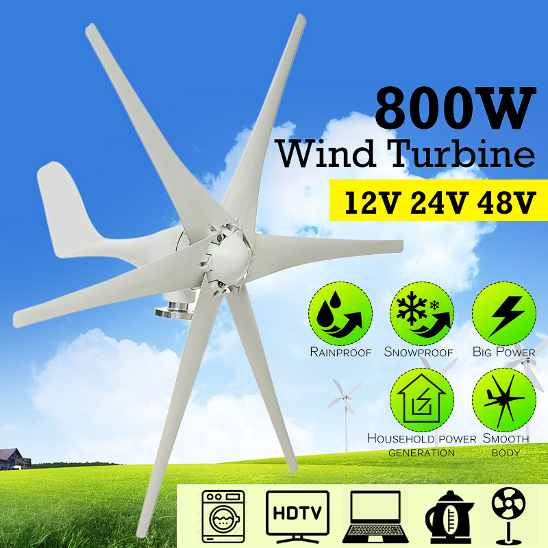 Max 800W Wind Turbine Generator 12V/24V/48V 6 Nylon Fiber Blades Windmill Power Generator Green Energy Generating Electric Aerogenerator (Excluding Controller)