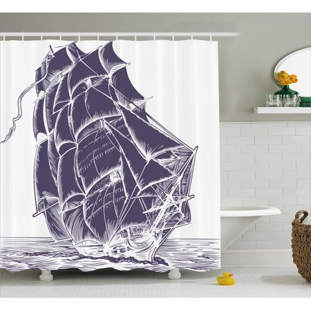 Nautical Shower Curtain Old Sail Boat In The Ocean On White Background Pirate Tresure Retro