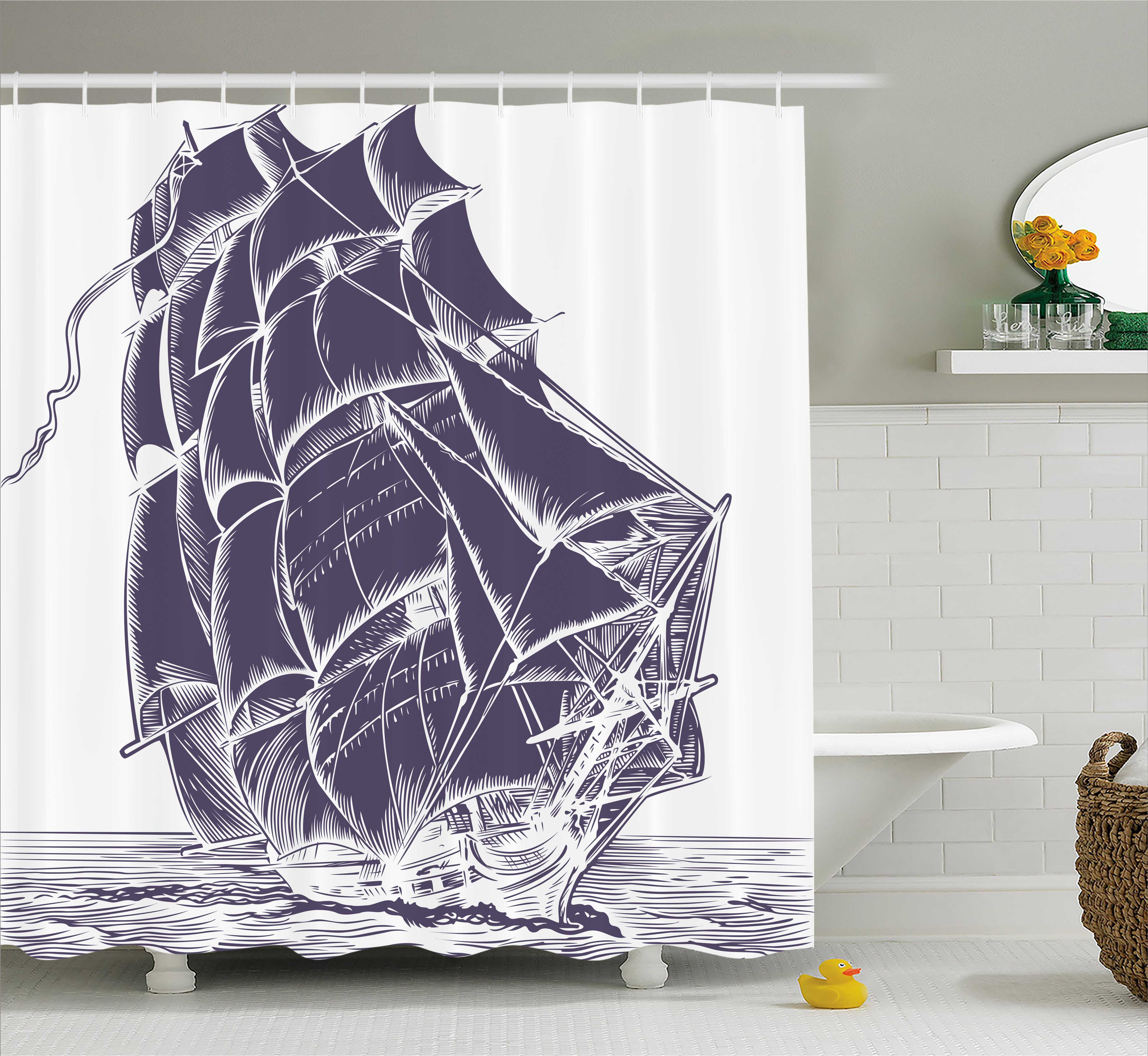 Nautical Shower Curtain, Old Sail Boat in the Ocean on White Background Pirate Tresure Retro Illustration, Fabric Bathroom Set with Hooks, 69W X 70L Inches, Cadet Blue, by Ambesonne