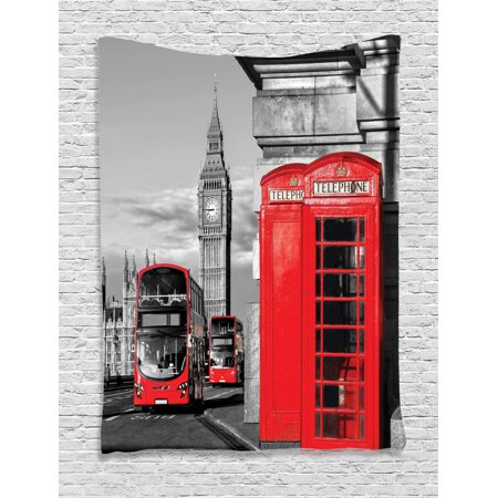 (London Decor Wall Hanging Tapestry, London Telephone Booth In The Street Traditional Local Cultural Icon England Uk Retro Print, Bedroom Living Room Dorm Accessories, By Ambesonne)