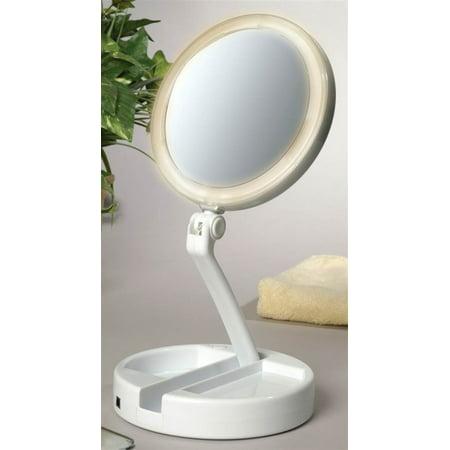 floxite 12x plus 1x led lighted folding vanity travel mirror white. Black Bedroom Furniture Sets. Home Design Ideas