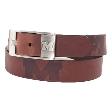 - Michigan Wolverines Brandish Leather Belt - Brown