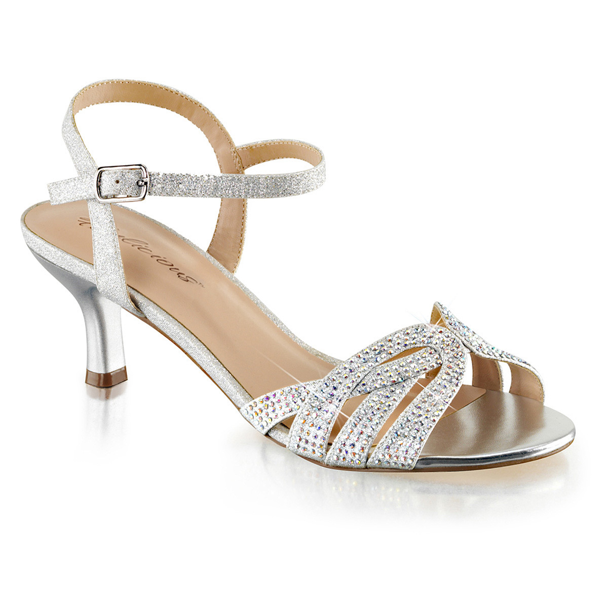 Womens Kitten Heel Shoes Sparkly Silver Ankle Strap Sandals Rhinestone 2 1/2 In