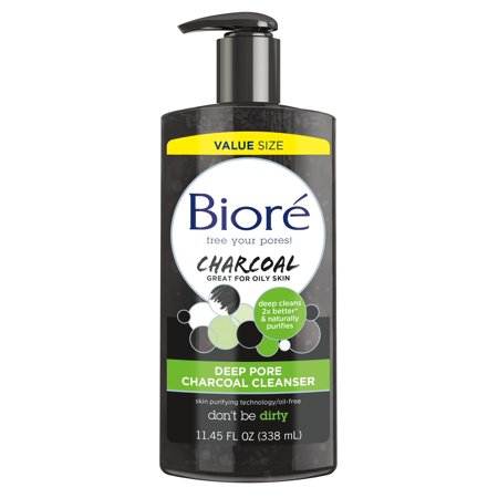 Biore Deep Pore Cleansing Charcoal Daily Face Wash, for Oily Skin, 11.45 fl oz