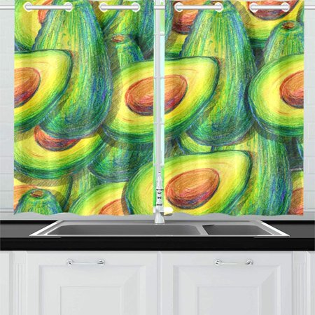 Yusdecor Avocado Pattern Window Curtains Kitchen Curtain Room Bedroom Drapes Curtains 26x39 Inch 2 Piece Walmart Canada