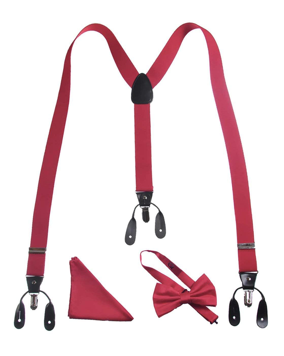 Burgundy Suspenders Bow Tie Matching Set Wedding Prom Burgendy maroon USA Seller