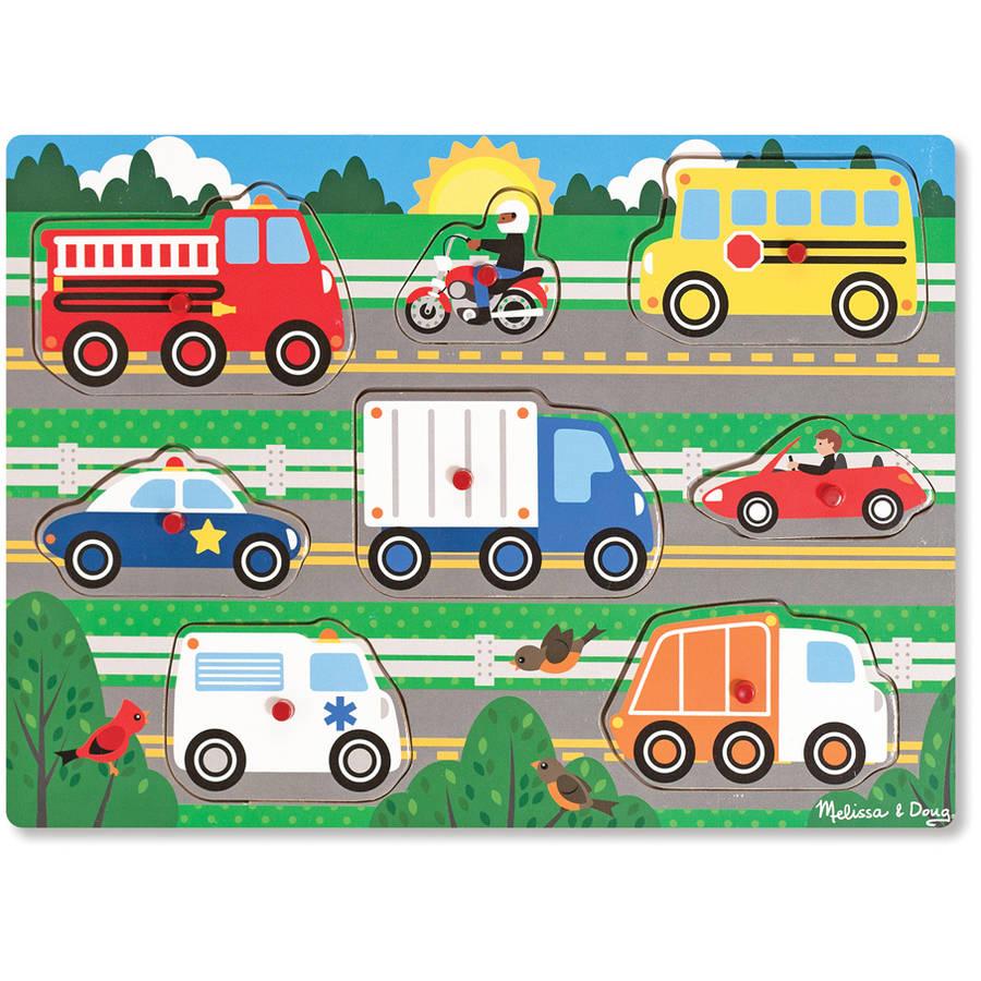 Melissa & Doug Vehicles Wooden Peg Puzzle, 8pc by Generic