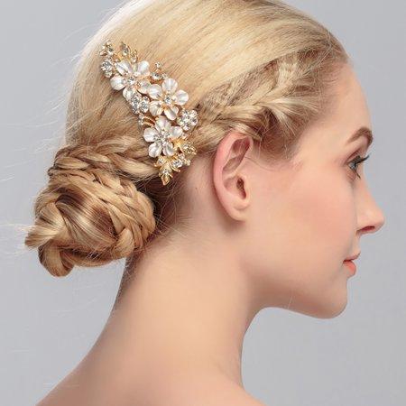 Wedding Bridal Hair Comb Flower Rhinestone Decor Handmade Hair Clip Wedding Headpiece for Women](Flower Headpiece)