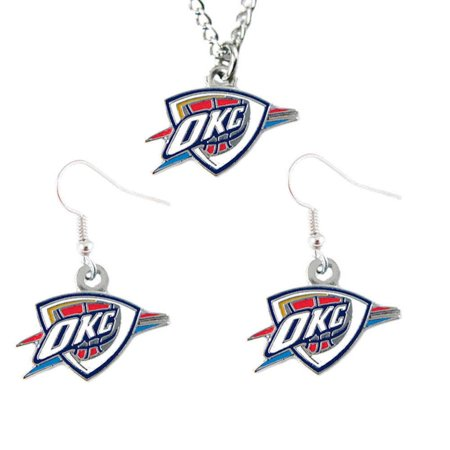 City Necklaces (Oklahoma City Thunder Necklace And Dangle Earring Charm Set)
