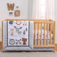 The Peanutshell, Woodland Walk Baby Crib Bedding Set, 3pc microfiber Grey
