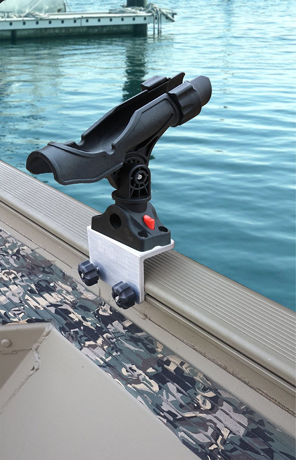 Click here to buy BroCraft Power Lock Rod Holder for Tracker Boat Versatrack System  90 degree Lund Sport Track.