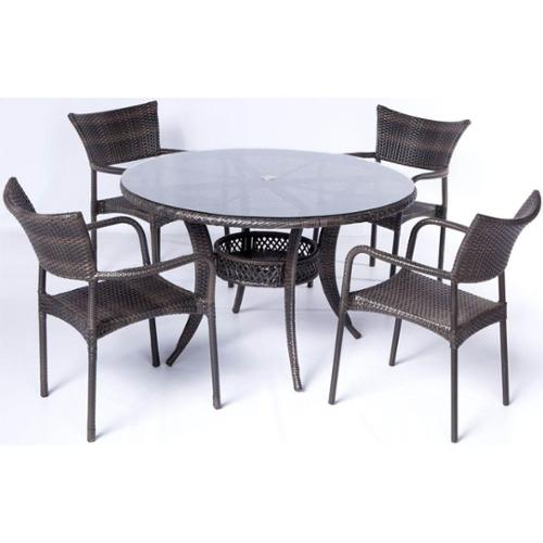 5-Pc Tutto All Weather Wicker Round Dining Set
