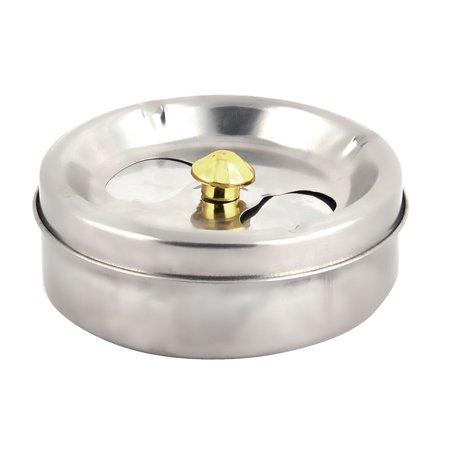 Household Office Metal Round Shape Rotating Ashtray Case Silver Tone 95mm Dia