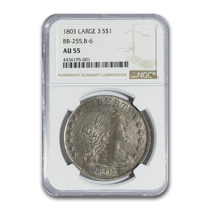 1803 Draped Bust Dollar Large Eagle AU-55 NGC