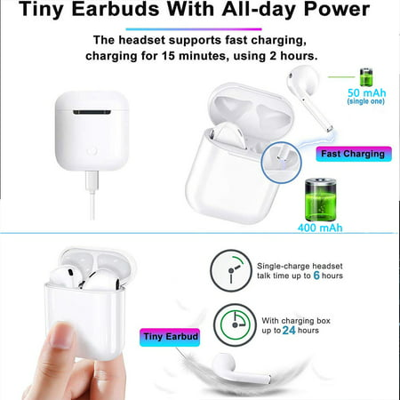 Bluetooth 5.0 Headphones, Wireless Earbuds 3D Stereo Sports Headsets IPX5 Water-resistant Earphones w/ Charge Case for iOS Android - image 1 of 7