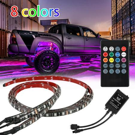 4Pcs 8 Colors Multicolor RGB IR Remote LED Strip Under Car Tube Underglow Music Sound Active Sensor Lights (36