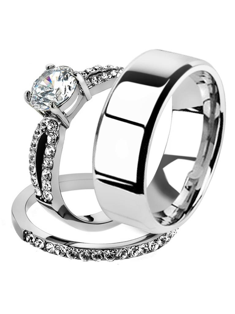 His /& Her 3pc Stainless Steel 1.25 Ct Cz Bridal Set /& Mens Titanium Wedding Band