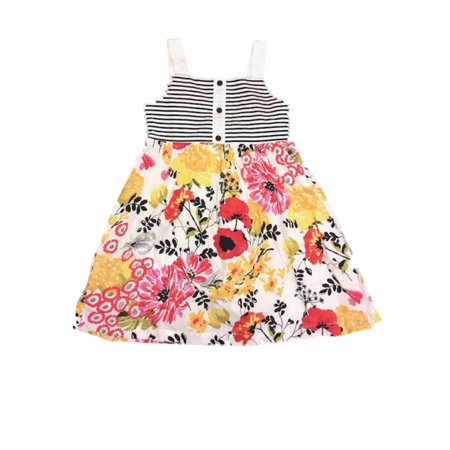 Girls White Spring Dress With Colorful Flowers Black & White Stripe Summer Dress 6