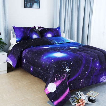 Fullqueen 3pcs Galaxies Purple Comforter Set All Season Down