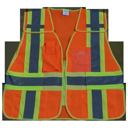 Petra Roc OVM2-PSV-SUPER Public Safety Vest 207-2006 107-2010 Class 2 Orange Mesh with Lime Binding 5-Point Breakaway 5 Pockets, Super 6X & (Breakaway Spear)