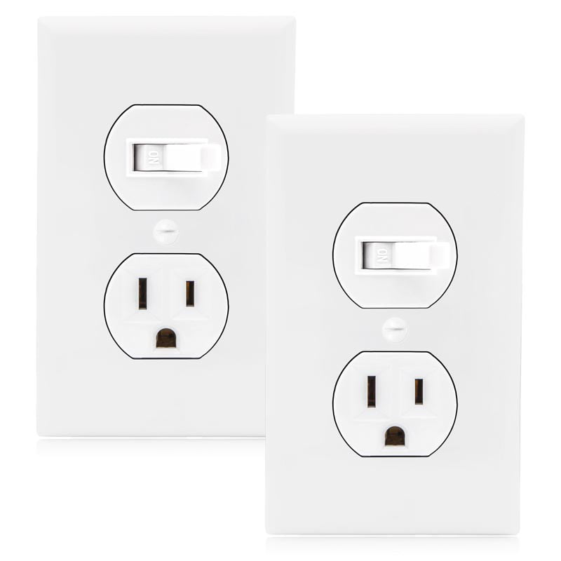 Maxxima Single Pole Combination Toggle Light Switch And Outlet White Wall Plates Included 2 Pack Walmart Com Walmart Com