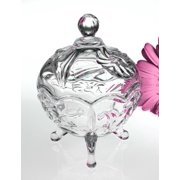 Liliana Round Footed Crystal Candy Nut Trinket Box Container Holder with Lid