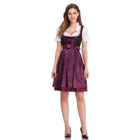 Women's Classic Stylish Dirndl Dress Three PCS Suit for Bavarian Oktoberfest Costumes - Top Fancy Dress Costumes