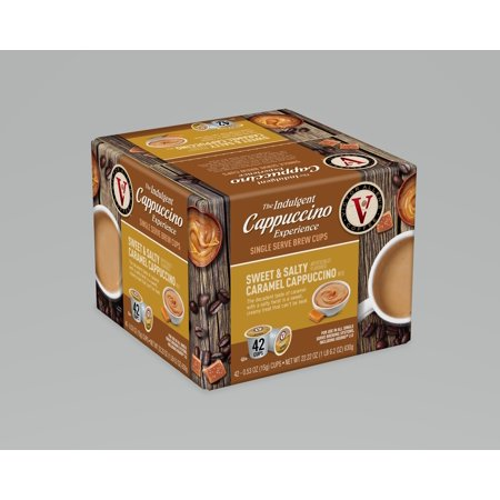 Victor Allen's Indulgent Cappuccino Experience Sweet & Salty Caramel K-Cup Coffee Pods, 42 Count