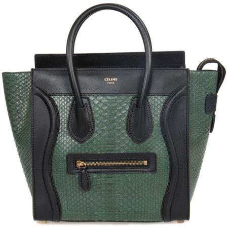 Celine Micro Emerald Green Python Black Leather Handbag