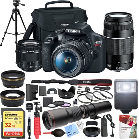 Canon EOS Rebel T7 DSLR Camera with EF18-55mm with EF 75-300mm Double Zoom Kit Bundle with 500mm Preset Telephoto Lens, 32GB Memory Card, Tripod, Paintshop Pro 2018 and Accessories (10 Items) 550d Dslr Camera