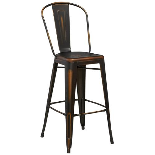 30-inch High Distressed Metal Indoor Barstool White