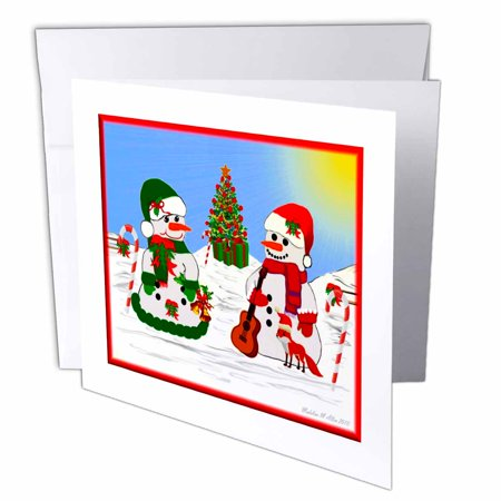 3dRose Musical Snowmen, Greeting Cards, 6 x 6 inches, set of 6 (Greeting Cards Musical)