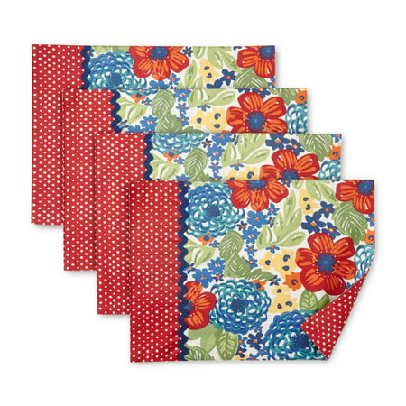 - The Pioneer Woman Dazzling Dahlias Reversible Placemat, Set of 4