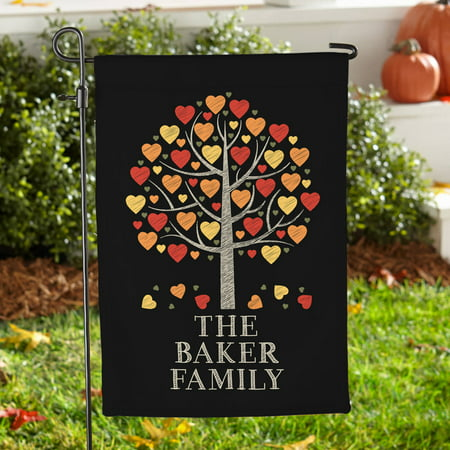 Personalized Falling Leaves Family Garden Flag, Available with or without Stake ()