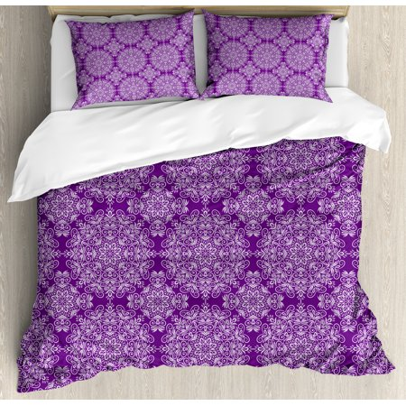 Purple Mandala King Size Duvet Cover Set, Classic Style Victorian Swirled Floral Branches with Ethnic Effects Design, Decorative 3 Piece Bedding Set with 2 Pillow Shams, White Purple, by Ambesonne ()