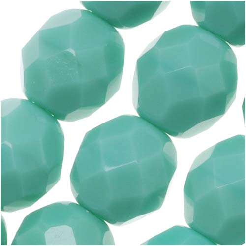 Czech Fire Polished Glass Beads 8mm Round Green Turquoise (25)