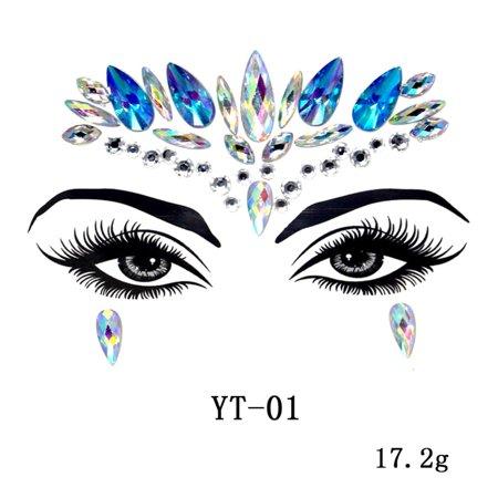DIY Self-Adhesive Face Gems Stickers Crystal Rhinestone Temporary Tattoo Stickers Body Jewels # A6