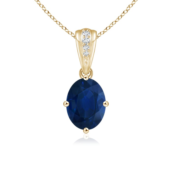 Angara Natural Blue Sapphire Necklace in 14k White Gold MOvvCxtws