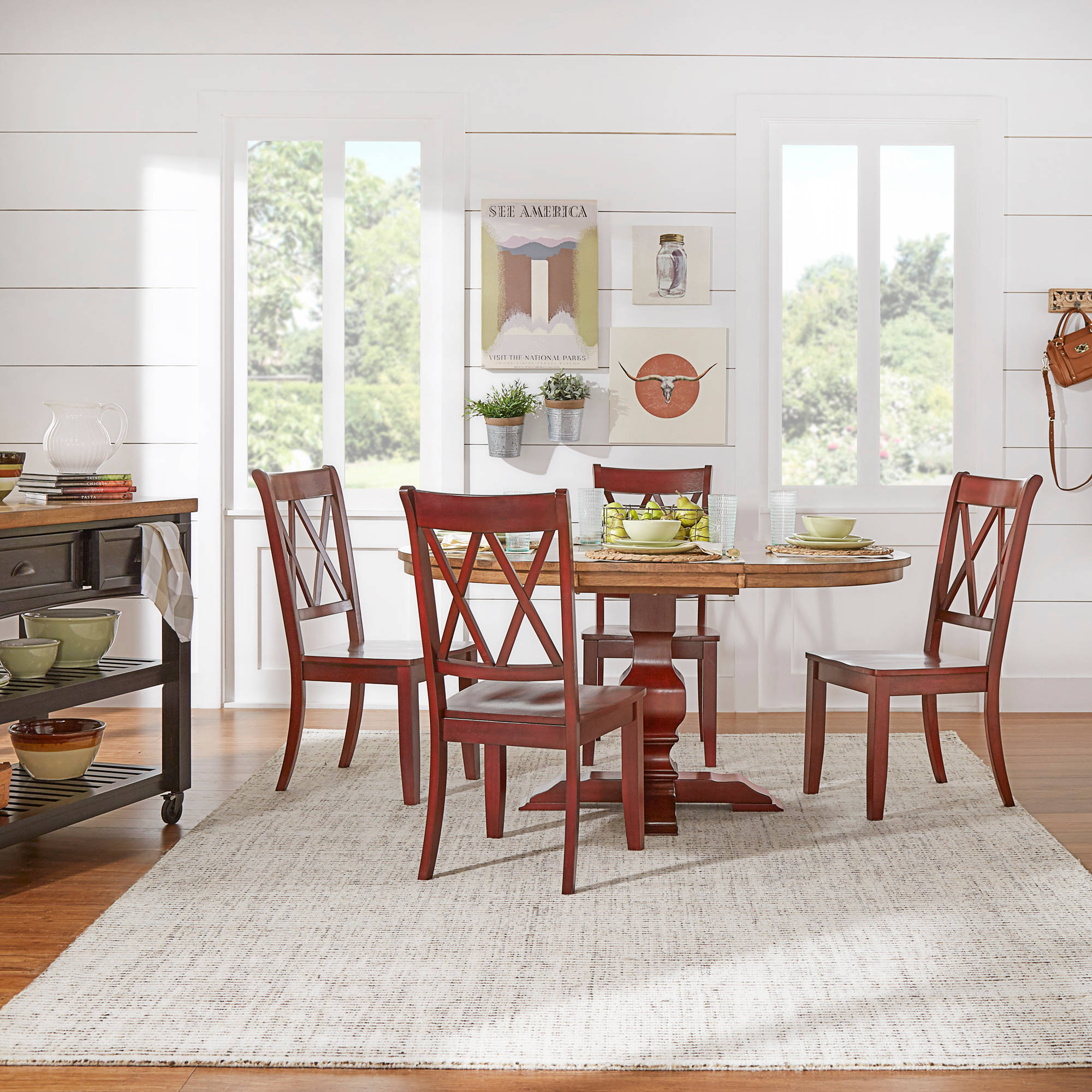 "Weston Home 5-Piece 60"" Oval Dining Set, with Oak and Berry Red Table and Berry Red Cross Back Chairs"