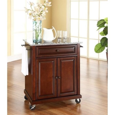 Bowery Hill Solid Granite Top Kitchen Cart in Mahogany ()