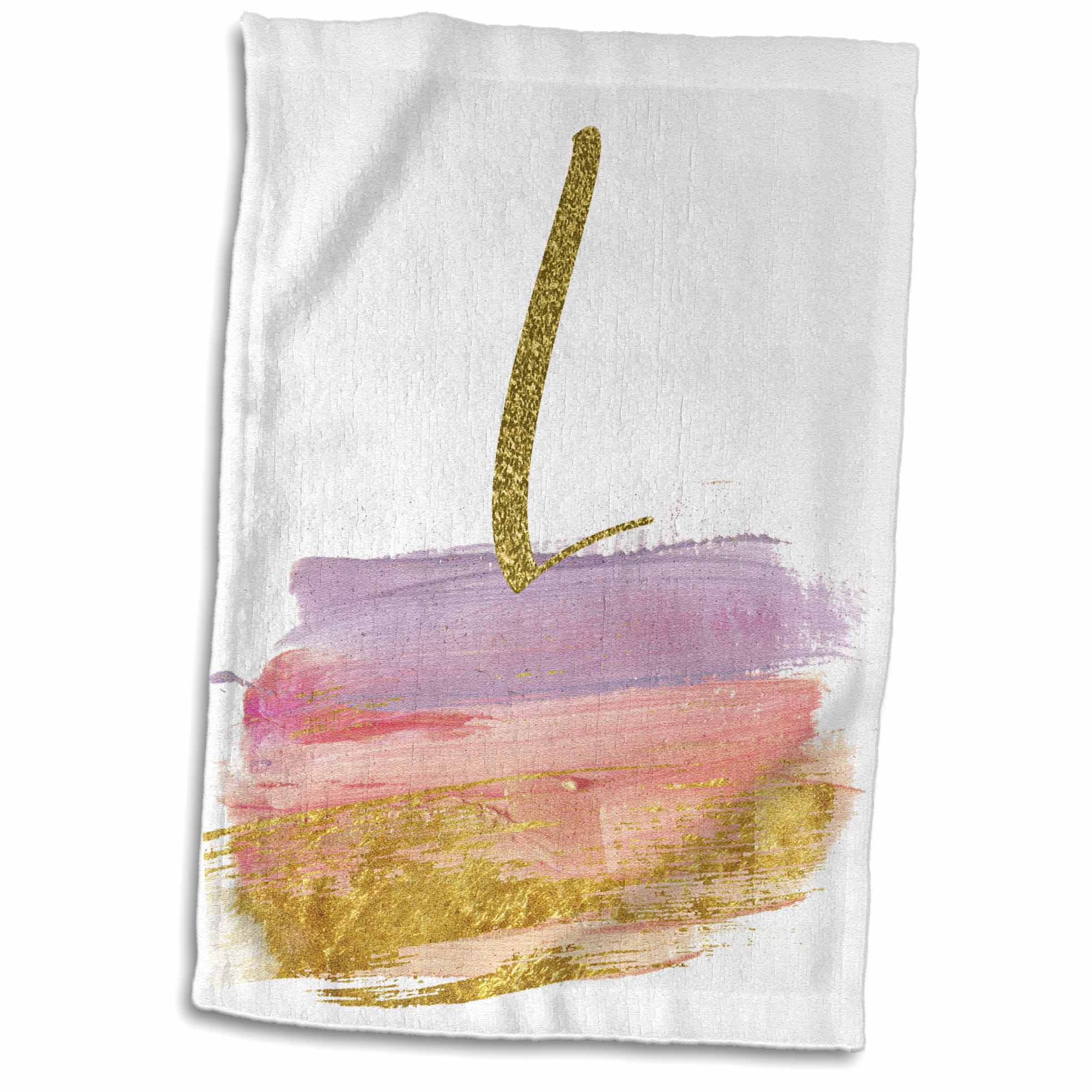 3dRose Modern Purple, Pink, Gold, Brush Strokes Monogram L - Towel, 15 by 22-inch