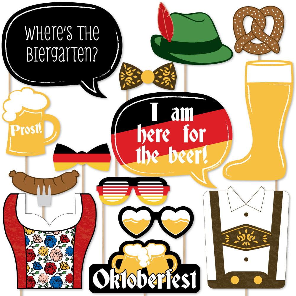 Oktoberfest German Beer Festival Photo Booth Props Kit 20 Count