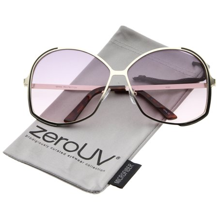 zeroUV - Women's Metal Frame Gradient Colored Lens Oversize Round Sunglasses 67mm - 67mm