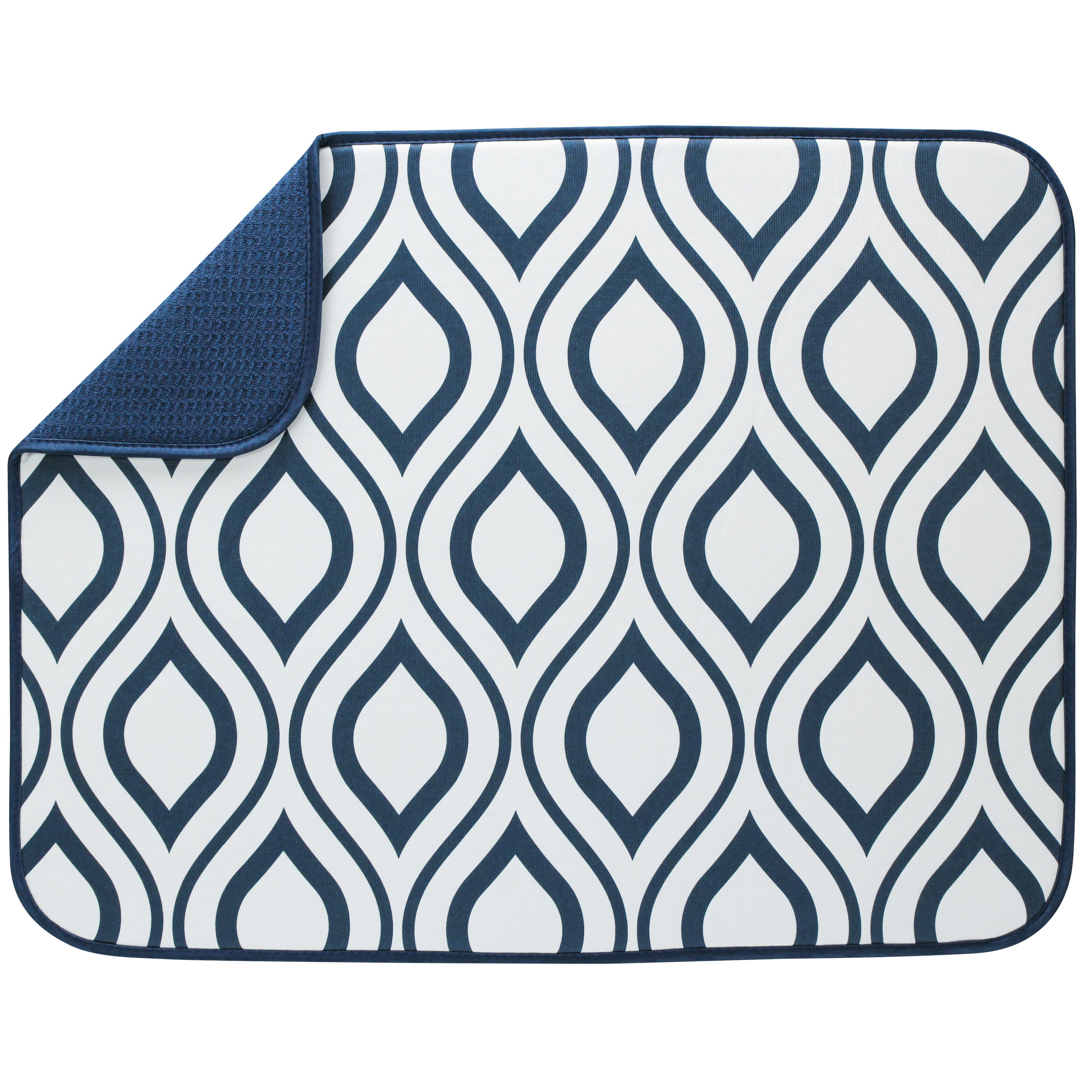XL Reversible Microfiber Dish Drying Mat - White with Navy Double Trellis - 18  x 24