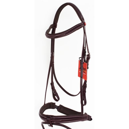 (Horse English Padded Leather Raised Adjustable Flash Bridle Reins Full 803127F)