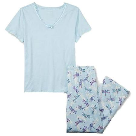 1ea7ba0c3fd Laura Scott - Laura Scott Womens Blue Dragonfly Print Pajamas Short Sleeve  Pajama Set PJs - Walmart.com