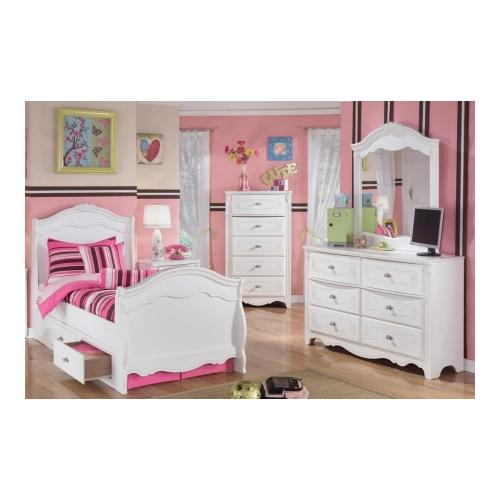 Signature Design by Ashley  B188212662N63N82N46 Exquisite Collection 4 Piece Bedroom Set with Twin Size Sleigh Bed +