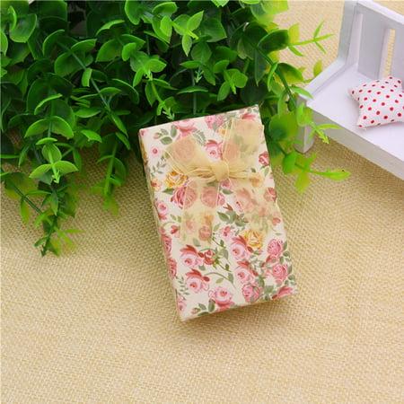 Amazon Hot Sale Jewelry Box Paper Bow Pendant Box Spot Rose Ring Stud Earring Box Rose Floral 5*8 Set Box (Bow Ring Jewellery Box)